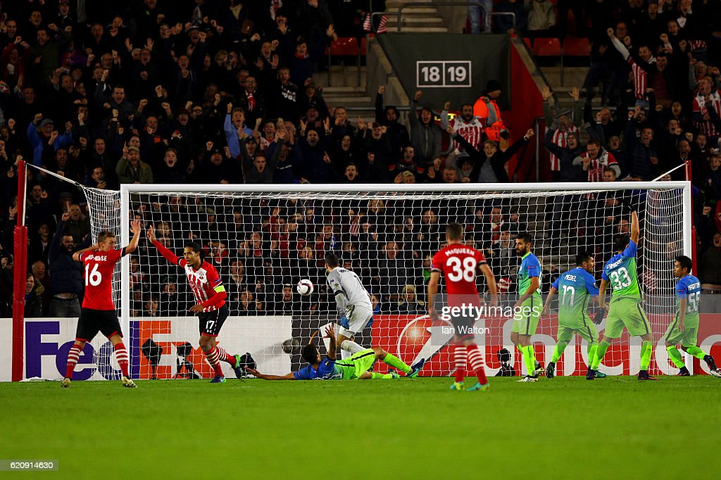 Virgil van Dijk of Southampton celebrates after scoring his team's first goal during the UEFA Europa League Group K match between Southampton FC and FC Internazionale Milano at St Mary's Stadium on November 3, 2016 in Southampton, England.