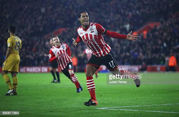 Virgil van Dijk of Southampton celebrates as he scores their first goal during the Premier League match between Southampton and Tottenham Hotspur at...