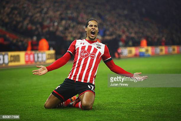 Virgil van Dijk of Southampton celebrates as he scores their first goal during the Premier League match between Southampton and Tottenham Hotspur at...