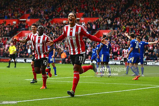 Virgil van Dijk of Southampton celebrates scoring his team's second goal during the Barclays Premier League match between Southampton and Leicester...