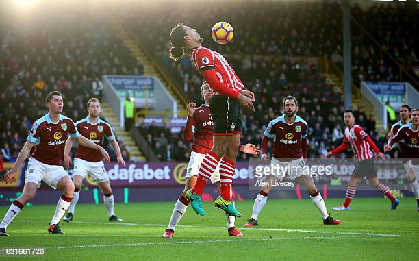 Virgil van Dijk of Southampton controls the ball in the box during the Premier League match between Burnley and Southampton at Turf Moor on January...