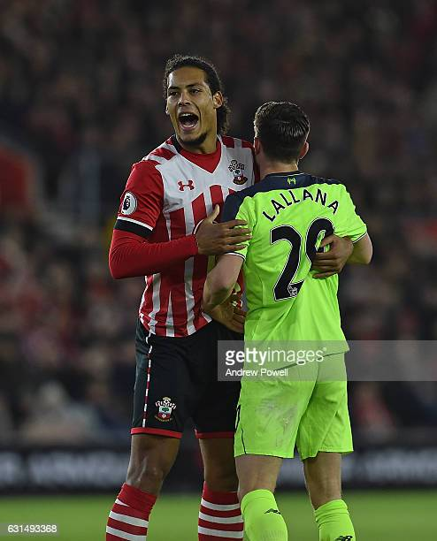 Virgil Van Dijk of Southampton during the EFL Cup SemiFinal match between Southampton and Liverpool at St Mary's Stadium on January 11 2017 in...