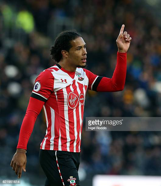 Virgil Van Dijk of Southampton during the Premier League match between Hull City and Southampton at KC Stadium on November 6 2016 in Hull England