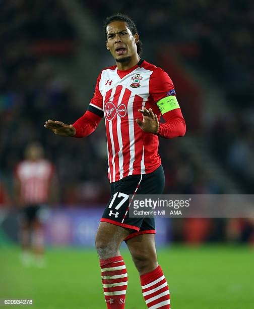 Virgil van Dijk of Southampton during the UEFA Europa League match between Southampton FC and FC Internazionale Milano at St Mary's Stadium on...