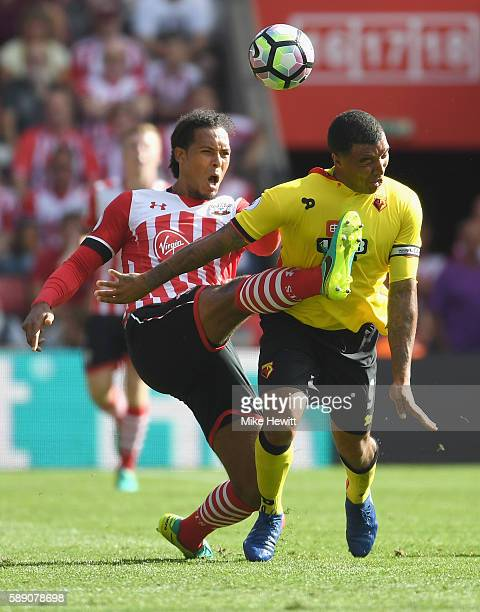 Virgil van Dijk of Southampton fouls Troy Deeney of Watford during the Premier League match between Southampton and Watford at St Mary's Stadium on...