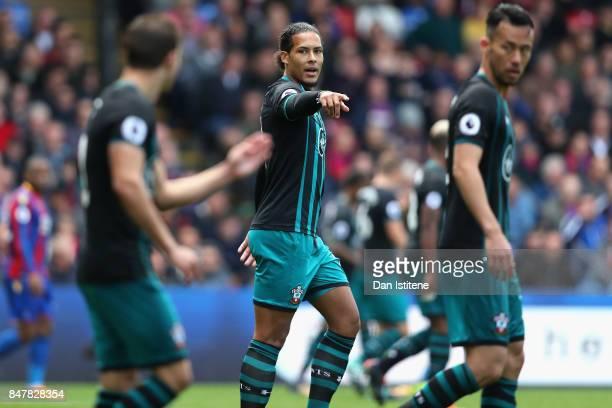 Virgil van Dijk of Southampton gestures during the Premier League match between Crystal Palace and Southampton at Selhurst Park on September 16 2017...