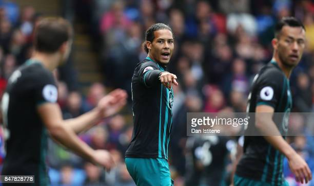 Virgil van Dijk of Southampton gesutres during the Premier League match between Crystal Palace and Southampton at Selhurst Park on September 16 2017...
