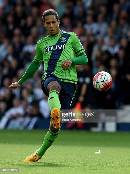 Virgil van Dijk of Southampton in action during the Barclays Premier League match between West Bromwich Albion and Southampton at The Hawthorns on...