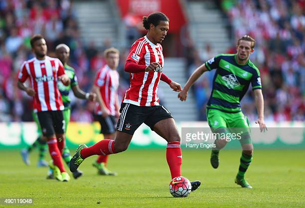 Virgil van Dijk of Southampton in action during the Barclays Premier League match between Southampton and Swansea City at St Mary's Stadium on...