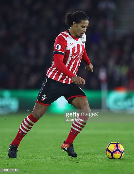 Virgil van Dijk of Southampton in action during the Premier League match between Southampton and Tottenham Hotspur at St Mary's Stadium on December...