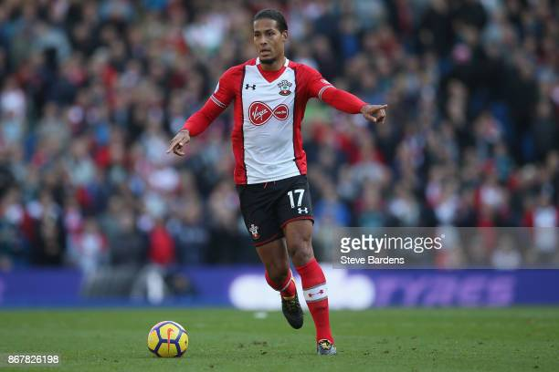 Virgil van Dijk of Southampton in action during the Premier League match between Brighton and Hove Albion and Southampton at Amex Stadium on October...