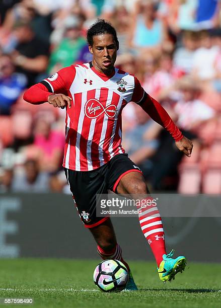 Virgil van Dijk of Southampton in action during the preseason friendly between Southampton and Athletic Club Bilbao at St Mary's Stadium on August 7...