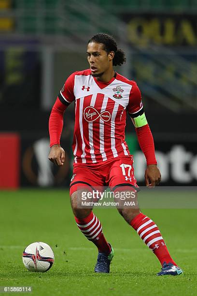 Virgil van Dijk of Southampton in action during the UEFA Europa League match between FC Internazionale Milano and Southampton FC at Giuseppe Meazza...