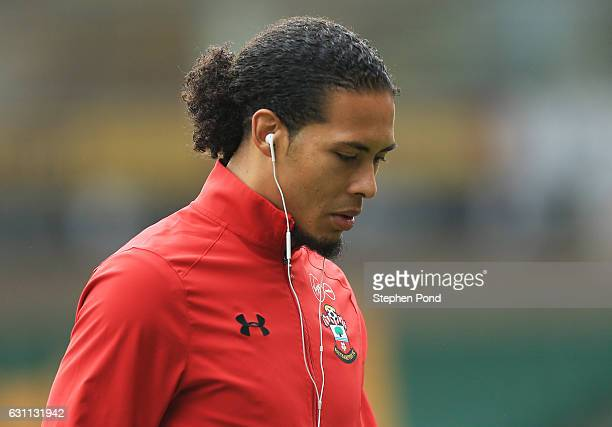 Virgil van Dijk of Southampton looks on during the Emirates FA Cup Third Round match between Norwich City and Southampton at Carrow Road on January 7...