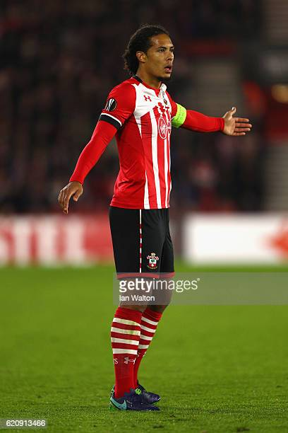 Virgil van Dijk of Southampton looks on during the UEFA Europa League Group K match between Southampton FC and FC Internazionale Milano at St Mary's...