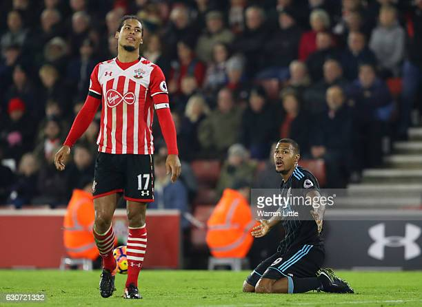 Virgil van Dijk of Southampton reacts after fouling Jose Salomon Rondon of West Bromwich Albion resulting in the second yellow card during the...