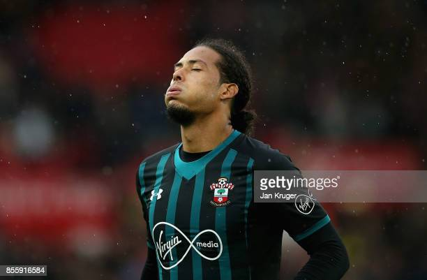 Virgil van Dijk of Southampton reacts after the Premier League match between Stoke City and Southampton at Bet365 Stadium on September 30 2017 in...