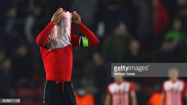 Virgil van Dijk of Southampton reacts as they are eliminated after the UEFA Europa League Group K match between Southampton FC and Hapoel Be'erSheva...
