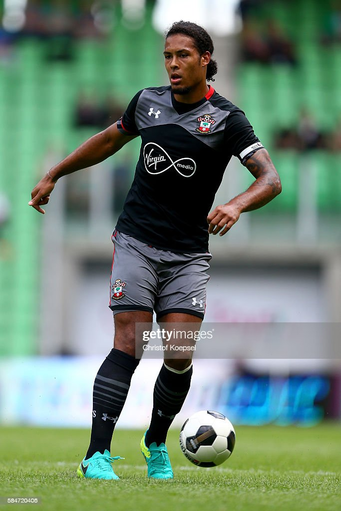 Virgil van Dijk of Southampton runs with the ball during the friendly match between FC Groningen an FC Southampton at Euroborg Stadium on July 30...