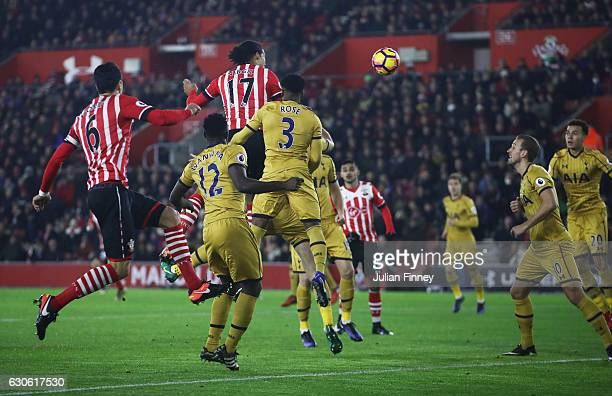 Virgil van Dijk of Southampton scores their first goal during the Premier League match between Southampton and Tottenham Hotspur at St Mary's Stadium...