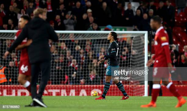 Virgil van Dijk of Southampton walks off the pitch after his side's 03 defeat in the Premier League match between Liverpool and Southampton at...