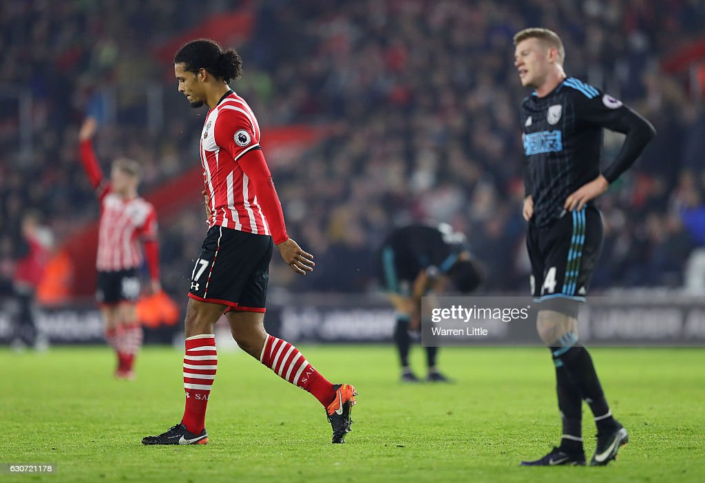Virgil van Dijk of Southampton walks off the pitch after sent off during the Premier League match between Southampton and West Bromwich Albion at St Mary's Stadium on December 31, 2016 in Southampton, England.