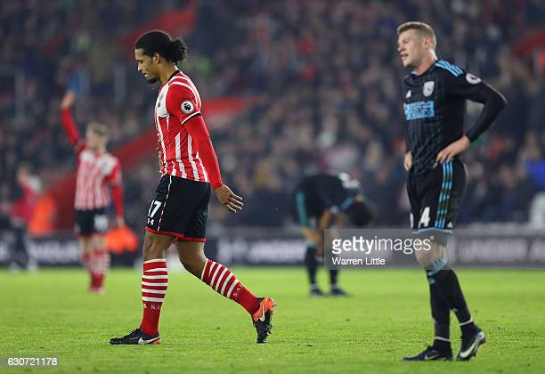 Virgil van Dijk of Southampton walks off the pitch after sent off during the Premier League match between Southampton and West Bromwich Albion at St...