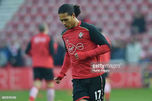 Virgil Van Dijk of Southampton warms up at St Mary's Stadium ahead of the Premier League match between Southampton and Leicester City at St Mary's...