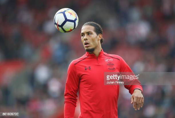Virgil van Dijk of Southampton warms up prior to the Premier League match between Southampton and Newcastle United at St Mary's Stadium on October 15...