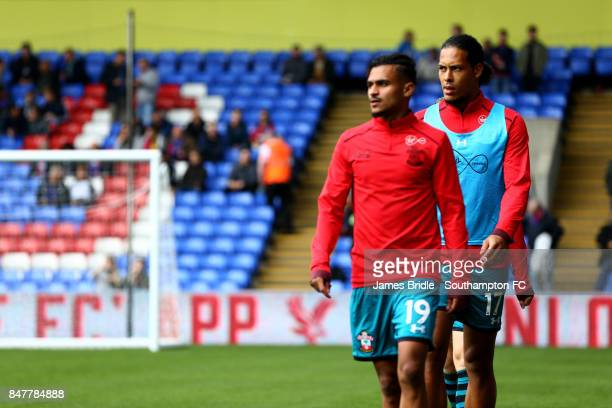 Virgil Van Dijk warming up ahead of the Pemier League match between Crystal Palace and Southampton at Selhurst Park on September 16 2017 in London...