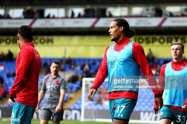 Virgil Van Dijk warming up ahead of the Premier League match between Crystal Palace and Southampton at Selhurst Park on September 16 2017 in London...