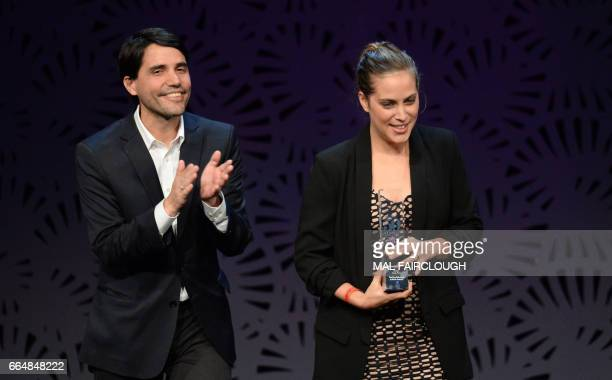 Virgilio Martinez and his wife Pia celebrate after winning the Best Restaurant in South America award at the World's 50 Best Restaurants awards in...