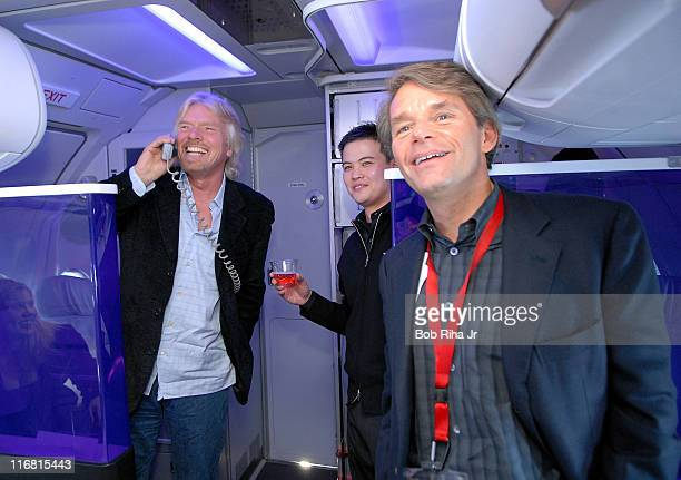 Virgin America president and ceo David Cush is joined by Virgin Group founder and chairman Sir Richard Branson during 'first flight' announcement to...