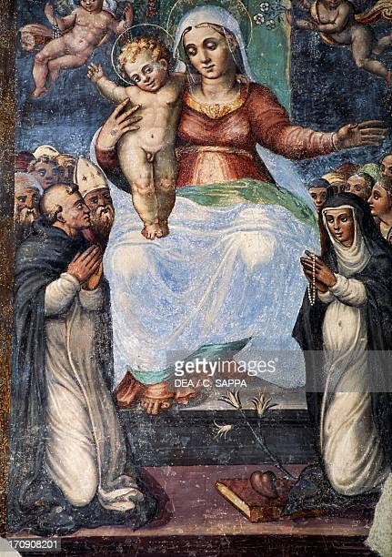 Virgin and Child fresco Collegiate Church of St Mary Visso Marche Italy
