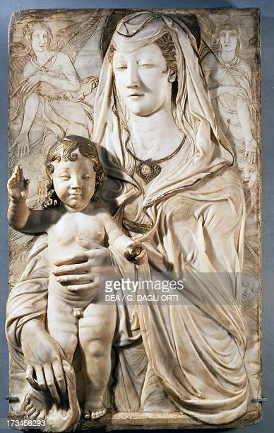 Virgin and Child with angels by Agostino di Duccio marble relief 91x77 cm Castle of Rignano Spinelli Italy 15th century Paris Musée Du Louvre