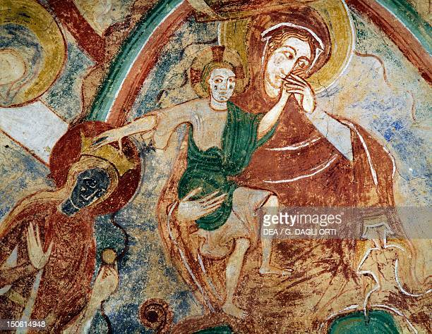 Virgin and Child with Catherine of Alexandria 13th century Romanesque frescoes in St Catherine's Crypt Church of NotreDame in Montmorillon France