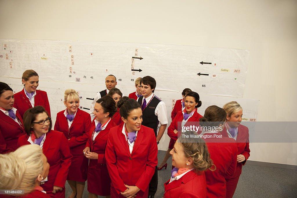 SUSSEX, UK, OCTOBER 27TH 2011. Virgin Atlantic air stewardess and steward training at The Base training facility.