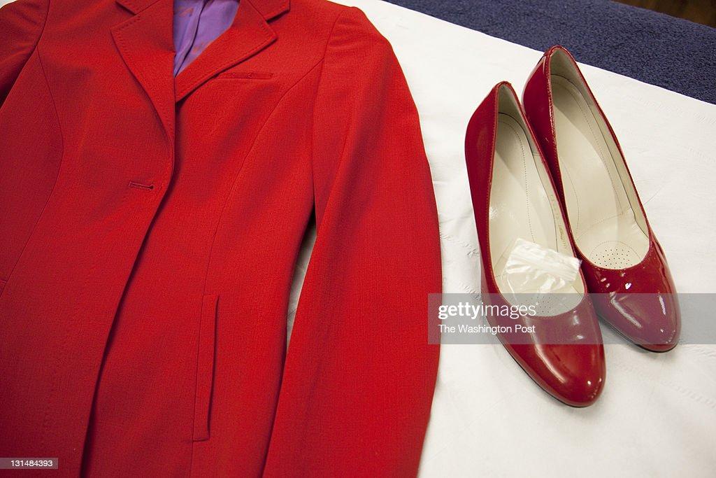 SUSSEX, UK, OCTOBER 27TH 2011. Virgin Atlantic air stewardess uniform and shoes at The Base training facility.
