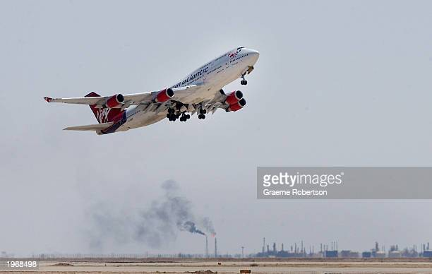 Virgin Atlantic aircraft takes off from the Basrah International Airport May 2 2003 in Basrah Iraq The Virgin Atlantic 747400 was the first...
