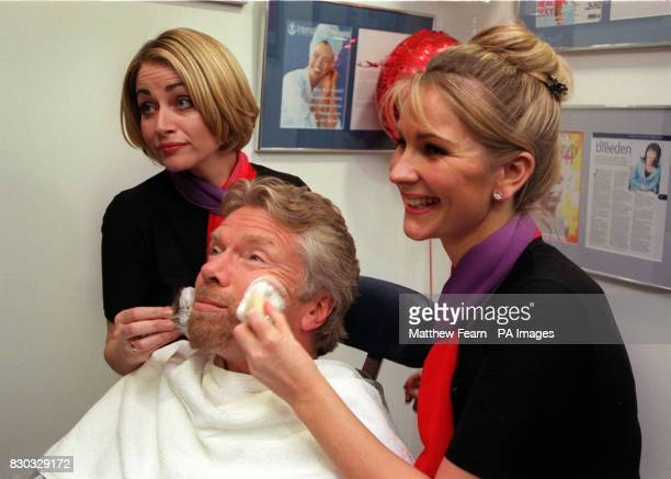 Virgin Atlantic Airways Chairman Richard Branson receives a facial in Virgin's new Revivals lounge at Heathrow Airport London The lounge which...