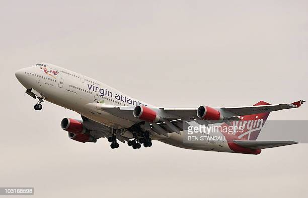 A Virgin Atlantic Boeing 747400 aircraft takes off from Heathrow Airport in west London on July 30 2010 Virgin Atlantic announced Friday that its...