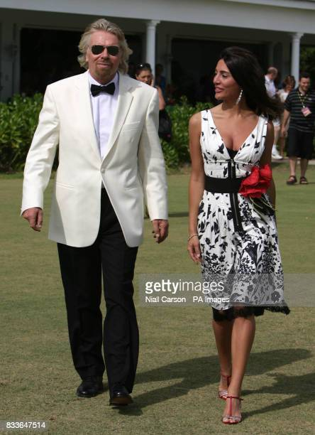 Virgin Atlantic boss Sir Richard Branson with Italian actress Caterina Murino who plays Solange in the upcoming James Bond film Casino Royale in...