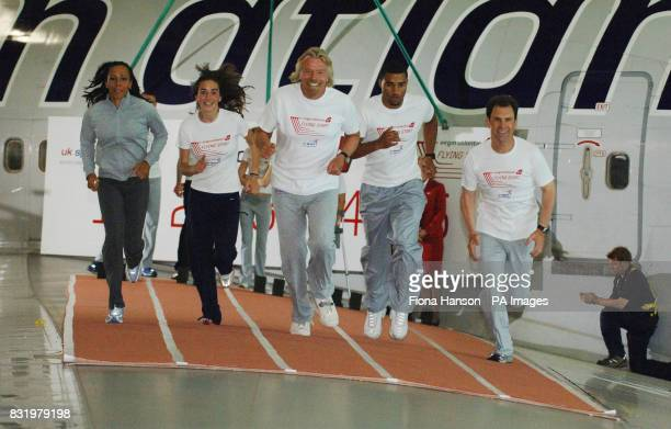 Virgin Atlantic entrepreneur Sir Richard Branson and Dame Kelly Holmes now an athletics coach with UK Sport Chief Executive John Steele racing...