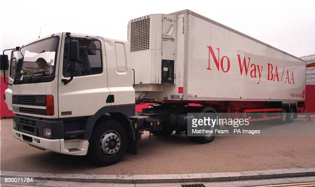 A Virgin Atlantic lorry parked outside London Studios London today where the Chief Executives of American Airlines British Airways Canadian Airlines...