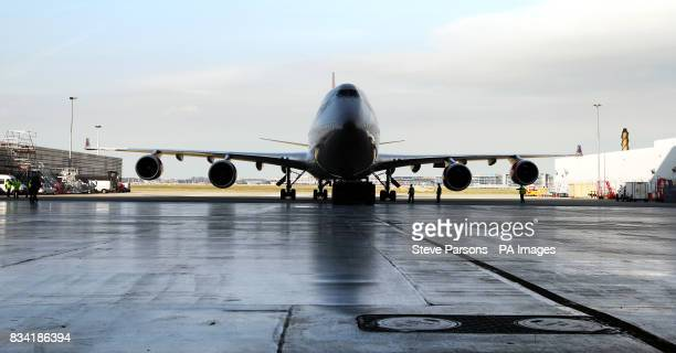 Virgin Atlantic's 747 is pushed out of the Virgin Hanger at Heathrow Airport to take off to Amsterdam for the first biofuel flight by an airline