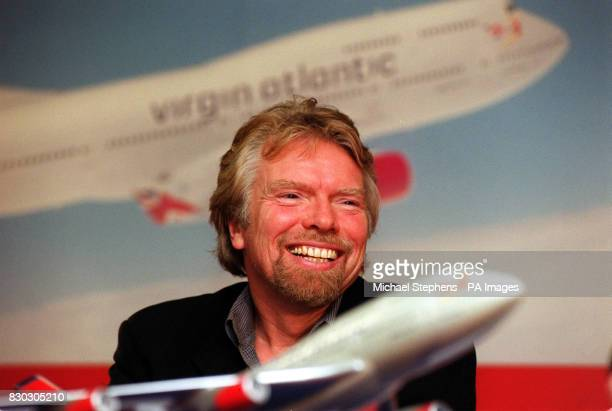 Virgin Chairman Richard Branson at a press conference in London in which he announced that Singapore Airlines has signed a memorandum to acquire 49...