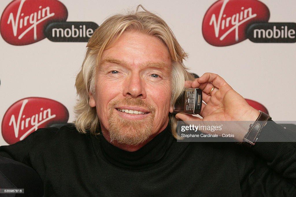 Virgin founder Richard Branson visits Paris during a launch for Virgin Mobile.