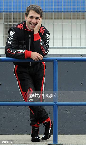 Virgin GP's German driver Timo Glock smiles during the training session at the Jerez racetrake in Cadiz on February 10 2010AFP PHOTO / CRISTINA...