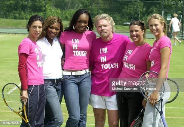 Virgin Group Chairman Richard Branson with women's tennis players Anastasia Myskina Serena Williams Venus Williams Jennifer Capriati and Maria...