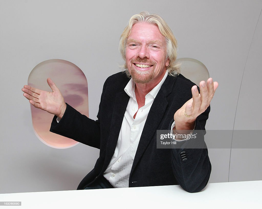 Virgin Group founder Sir <a gi-track='captionPersonalityLinkClicked' href=/galleries/search?phrase=Richard+Branson&family=editorial&specificpeople=220198 ng-click='$event.stopPropagation()'>Richard Branson</a> attends the Conversations In A Cloud Pop-Up Business Panel at the Virgin Atlantic Upper Class Bar pop-up on Wall Street on October 2, 2012 in New York City.